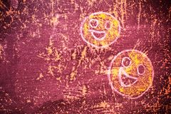 Smiley drawn chalk on an old school board Stock Photography