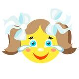 Smiley dziewczyna śmia się i płacze Obrazy Stock