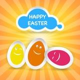 Smiley Easter Eggs e saluto felice di Pasqua su una nuvola Fotografia Stock Libera da Diritti