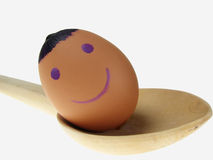 Smiley Egg On Wooden Spoon Stock Photography