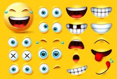 Smiley emoji creation kit vector set. Smileys emoticons and emojis face kit eyes and mouth in surprise, excited, hungry, and funny