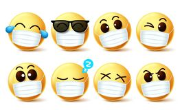 Smiley emoji facemask vector set. Smiley emoji with covid-19 face mask and eye expressions