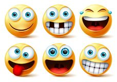 Smiley emojis vector face set. Smileys emoticons and emoji cute faces in crazy, funny, excited, laughing, and toothless facial.