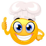 Smiley Emoticon as Chef Hat doing ok Hand sign Royalty Free Stock Photography