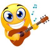 Smiley Emoticon bawić się jego drewnianą gitarę ilustracji