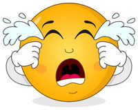 Smiley Emoticon Character pleurant triste Images stock