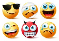 Smiley emoticon or emoji face vector set. Smileys yellow face icon and emoticons in devil, injured, surprise, angry.