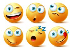 Smiley emoticon faces vector set. Smileys emoticons of yellow face in naughty, sleepy, hungry, surprise.