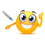 Smiley Emoticon Happily Taking a Vaccine. Vector Illustration of Smiley Emoticon Happily Taking a Vaccine Stock Images