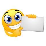 Smiley Emoticon Holding Blank Board ilustración del vector