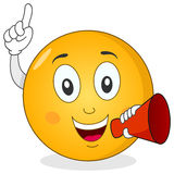 Smiley Emoticon Holding Red Megaphone Stockfotografie
