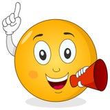 Smiley Emoticon mienia rewolucjonistki megafon Fotografia Stock