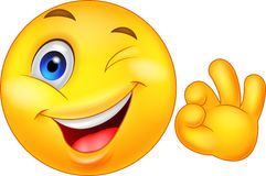 Smiley emoticon with ok sign Royalty Free Stock Photos