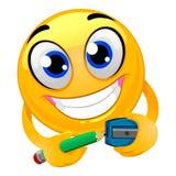 Smiley Emoticon Ostrzy ołówek ilustracja wektor