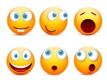 Smiley, emoticon plaatste Geel gezicht met emoties, stemming Gelaatsuitdrukking, realistische emoji Droevige, gelukkige, boze gez stock illustratie