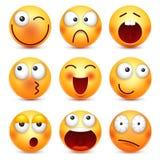 Smiley, emoticon plaatste Geel gezicht met emoties, stemming Gelaatsuitdrukking, realistische emoji Droevige, gelukkige, boze gez royalty-vrije illustratie