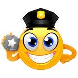 Smiley Emoticon Policeman die een Kenteken houden vector illustratie