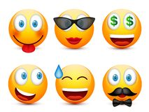 Smiley,emoticon set. Yellow face with emotions,mood. Facial expression, realistic emoji. Sad,happy,angry faces.Funny. Smiley,emoticon set. Yellow face with stock illustration