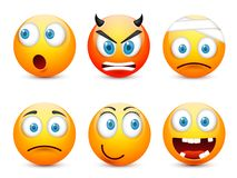 Smiley,emoticon set. Yellow face with emotions,mood. Facial expression, realistic emoji. Sad,happy,angry faces.Funny. Smiley,emoticon set. Yellow face with vector illustration