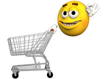 Smiley Emoticon Shopping Cart. Happy Smiley Face Emoticon Shopper pushes a Shopping Cart royalty free illustration