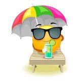 Smiley Emoticon sun bathing Royalty Free Stock Photography