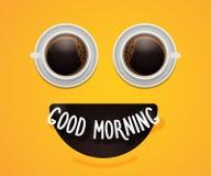 Smiley emoticon twarz z oczami robić kawy lub gorącej czekolady filiżanki Energetycznego szczęśliwego Śniadaniowego tła plakatowy ilustracja wektor