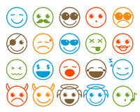 Smiley Emoticon-Vektorikonen stellten in flache Linie Kreisknopf ein stock abbildung