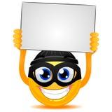Smiley Emoticon włamywacz trzyma Pustą deskę ilustracji