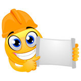 Smiley Emoticon wearing a helmet Engineer while holding a blank open paper board Royalty Free Stock Image