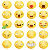 Smiley emoticon yellow cartoon characters in different emotions big set royalty free illustration