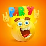 Smiley Emoticon Yellow Face feliz Ícone do conceito do partido ilustração stock