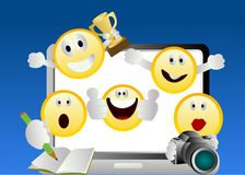 Smiley emoticons. With social networking actions Royalty Free Illustration