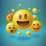 Smiley emoticons, emoji, social media concept. Background with group of smiley emoticons, emoji, social media communication concept, vector illustration Royalty Free Stock Image