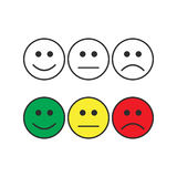 Smiley emoticons, positive, neutral and negative Royalty Free Stock Photos