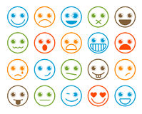 Smiley emoticons vector icon set in flat line circle button Royalty Free Stock Photos