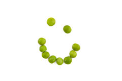 Smiley-Erbsen - gesundes Essen Stockbild