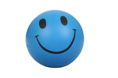 Smiley face. Blue smiley face on white background royalty free stock image