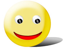 Smiley face. Emoticon: yellow smiley face with black eyes and red banana-like mouth and shadow Royalty Free Stock Images