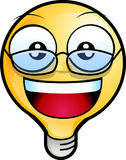 Smiley face. Icon. lighting bulb character wearing eyeglasses Stock Image