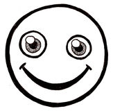Smiley face. Black and white illustration of a cartoon style smiley face Royalty Free Stock Photo