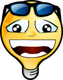 Smiley face. Icon. lighting bulb character wearing sunglasses over his head Royalty Free Stock Photos