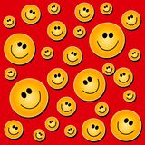 Smiley Face Background Red. A background pattern of smiley faces on a red background Stock Image
