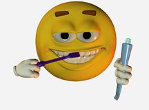 Smiley face brushing teeth Stock Photos