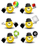 Smiley Face Businessmen. An illustration featuring your choice of 6 cartoon smiley businessman characters holding various items and wearing a bowler hat - cd Royalty Free Stock Photo