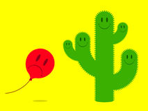 Smiley face cactus with scared balloon Royalty Free Stock Images