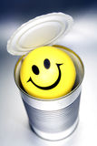 Smiley face in can Royalty Free Stock Photography