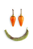 Smiley face of chili peppers isolated on white background. Smiley funny face of chili pepper isolated on white background. Closeup image of ideal hot spicy royalty free stock photography