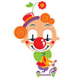 Smiley face clown party time performance with a scooter Royalty Free Stock Image