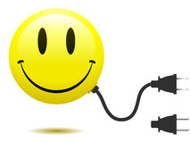 Smiley face with connector plug. Yellow smiley face with connector plug stock illustration