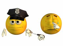 Smiley face cop and robber Stock Photo